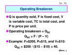 operating breakeven