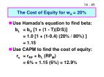 the cost of equity for w d 20