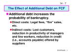 the effect of additional debt on fcf