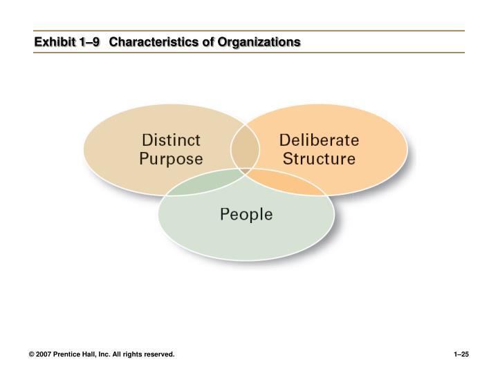 Exhibit 1–9Characteristics of Organizations