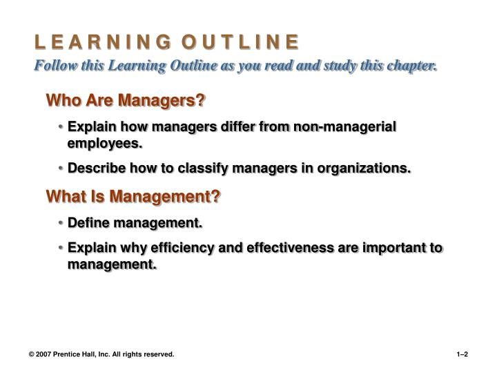 L e a r n i n g o u t l i n e follow this learning outline as you read and study this chapter