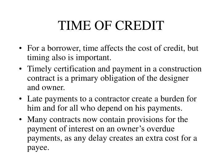 TIME OF CREDIT