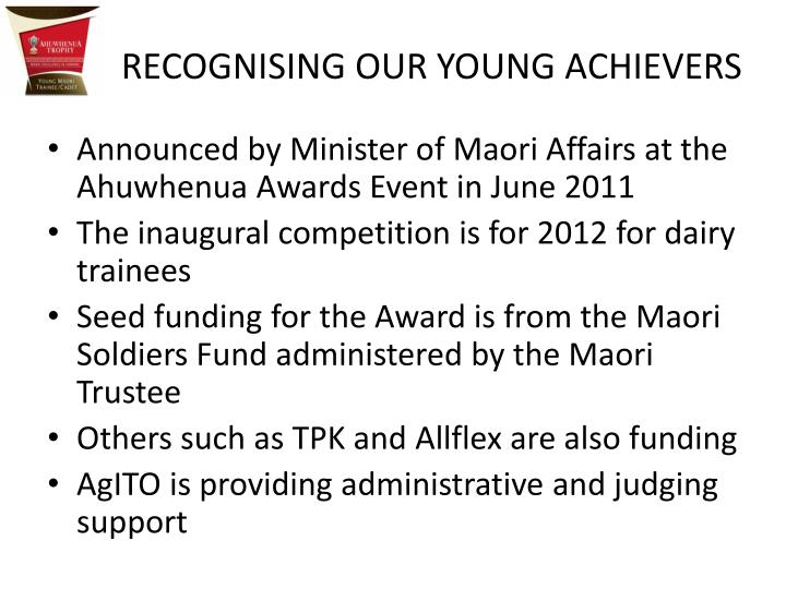 RECOGNISING OUR YOUNG ACHIEVERS