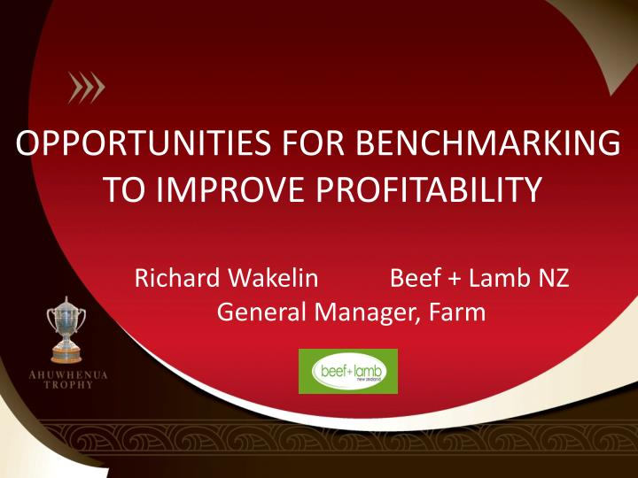 OPPORTUNITIES FOR BENCHMARKING