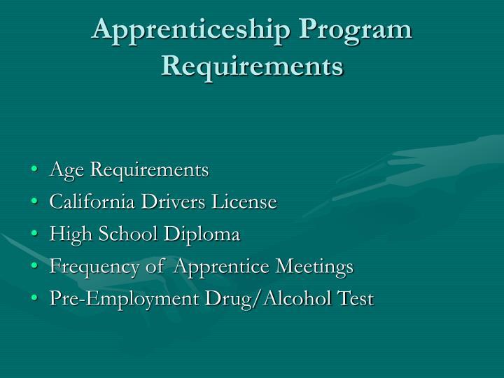 Apprenticeship Program Requirements