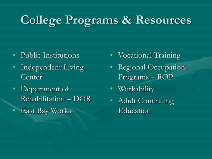 College programs resources