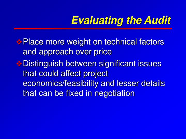 Evaluating the Audit