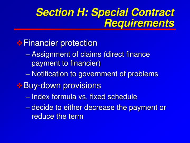 Section H: Special Contract Requirements