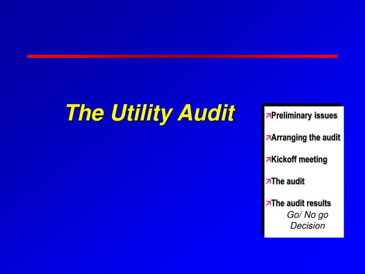 The utility audit