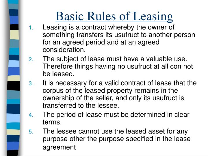 Basic Rules of Leasing