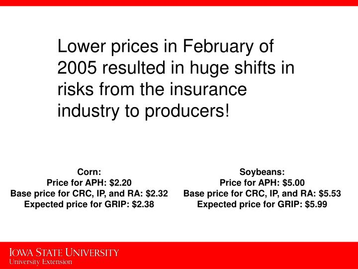 Lower prices in February of 2005 resulted in huge shifts in risks from the insurance industry to producers!