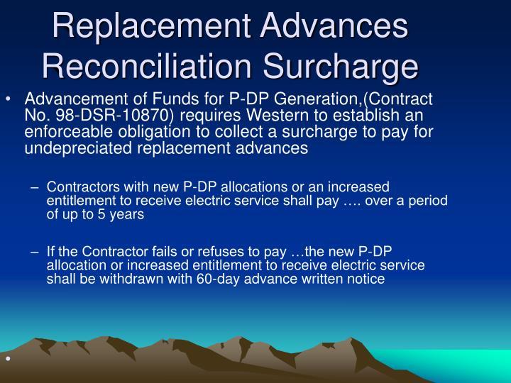 Replacement Advances Reconciliation Surcharge