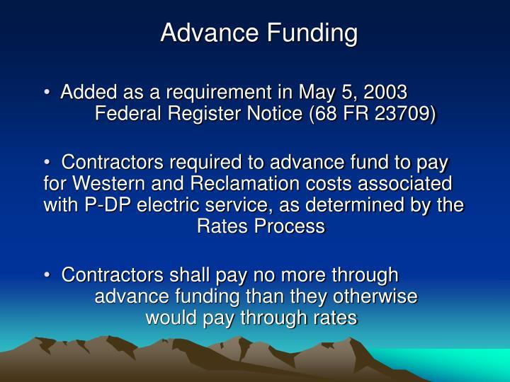 Advance Funding