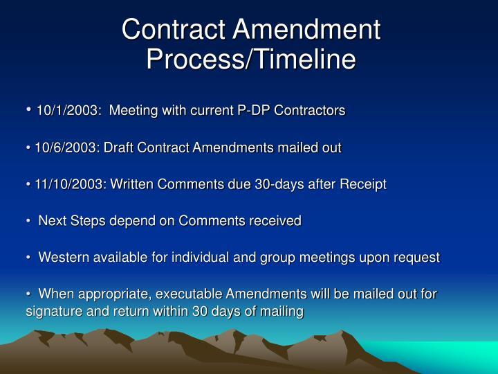 Contract Amendment Process/Timeline