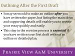 outlining after the first draft