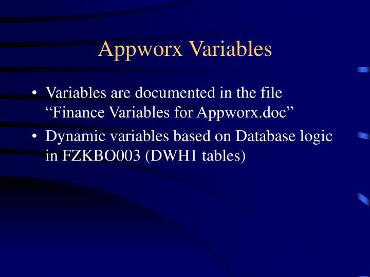 Appworx Variables