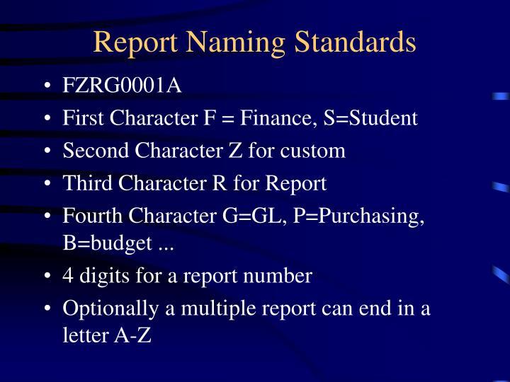 Report Naming Standards