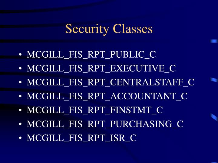 Security Classes
