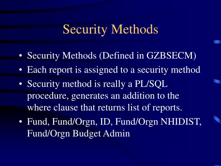 Security Methods