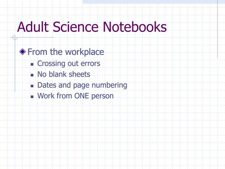 Adult Science Notebooks
