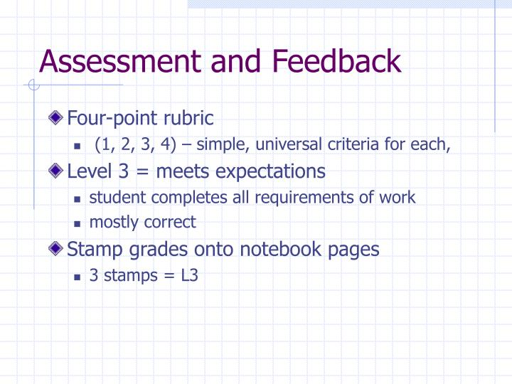 Assessment and Feedback