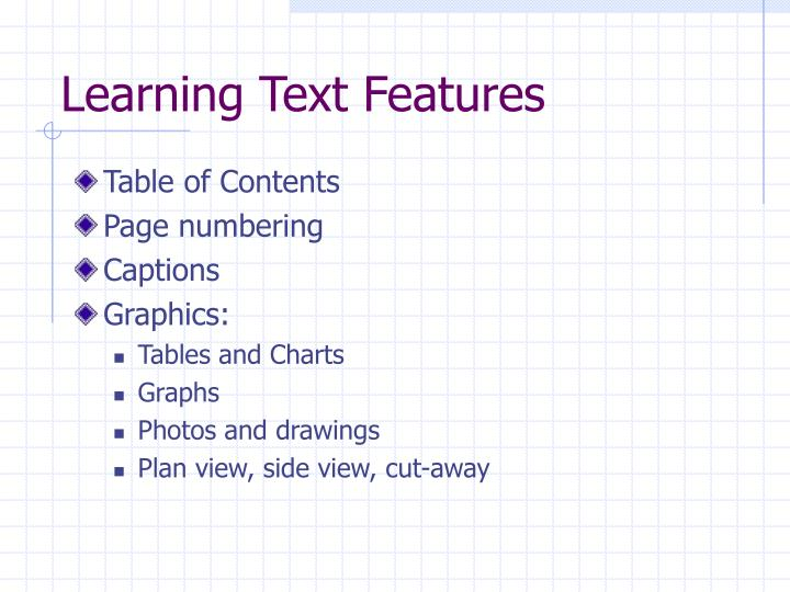 Learning Text Features