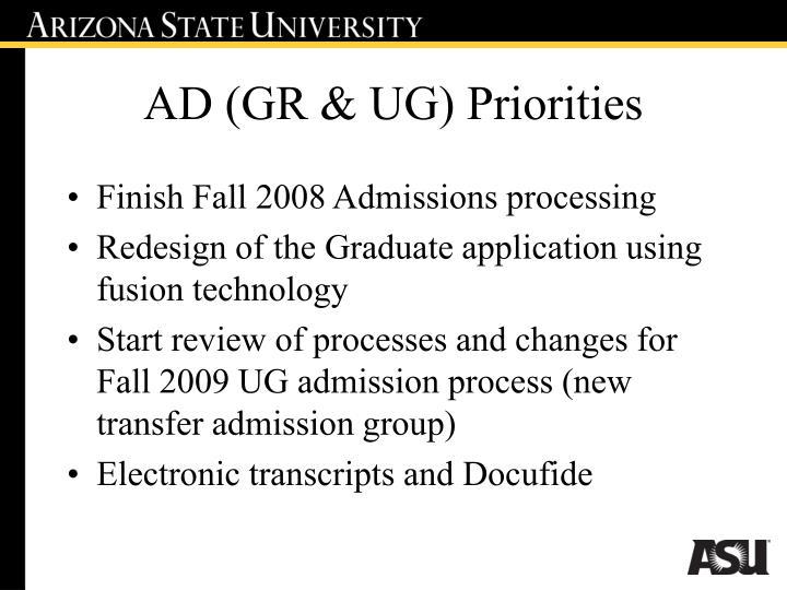 AD (GR & UG) Priorities