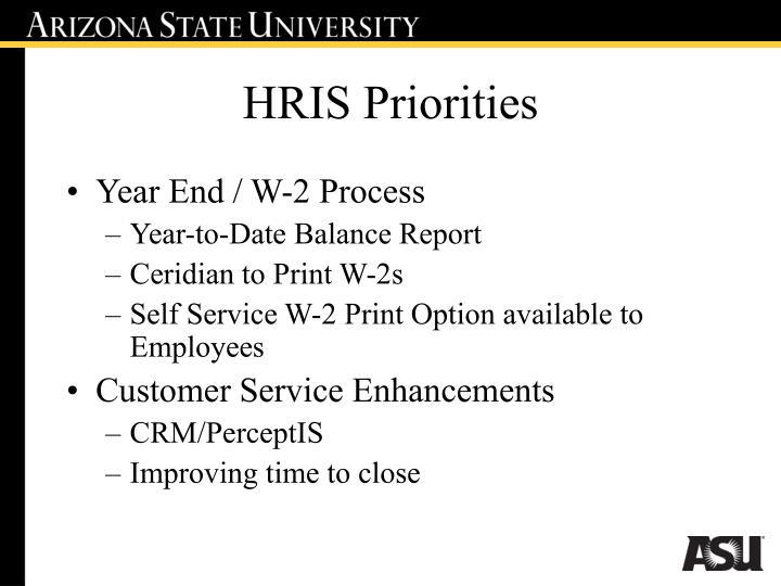 HRIS Priorities