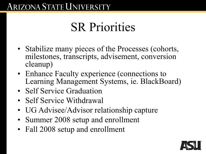 SR Priorities