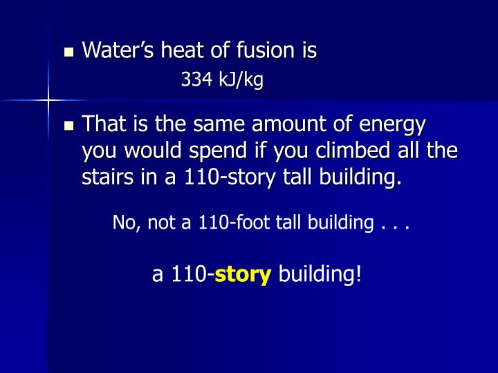 Water's heat of fusion is