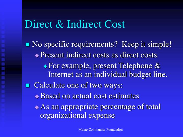 Direct & Indirect Cost