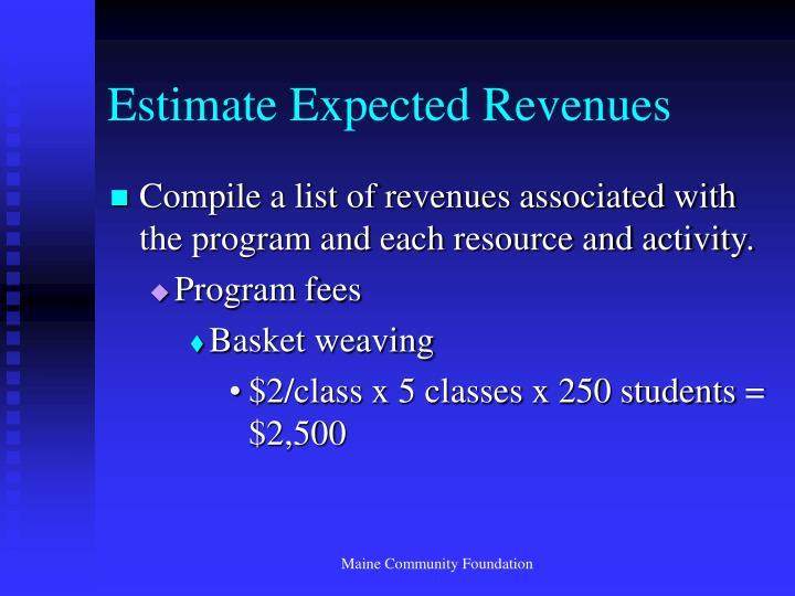 Estimate Expected Revenues