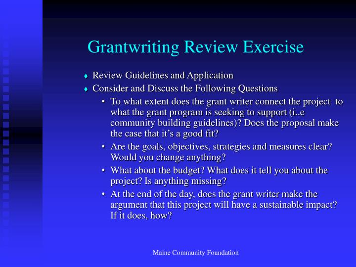Grantwriting Review Exercise