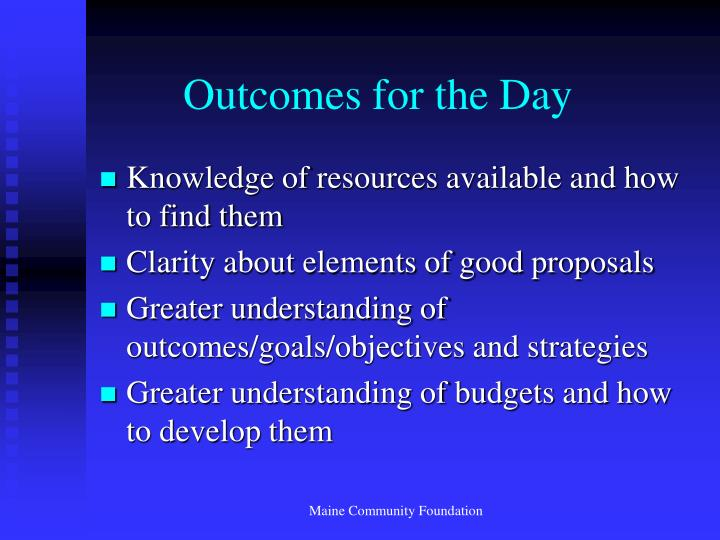 Outcomes for the Day