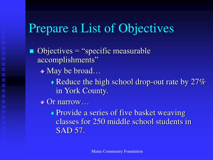 Prepare a List of Objectives