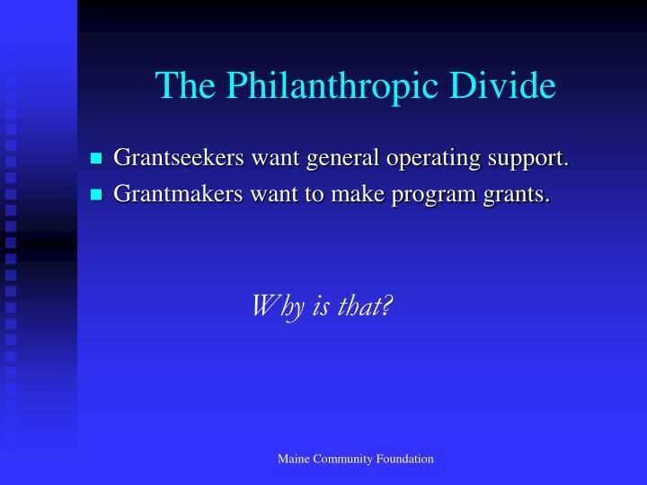The Philanthropic Divide