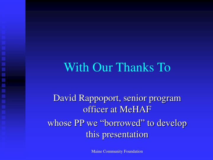 With our thanks to