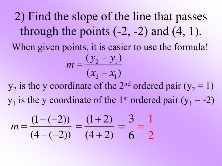 2) Find the slope of the line that passes through the points (-2, -2) and (4, 1).