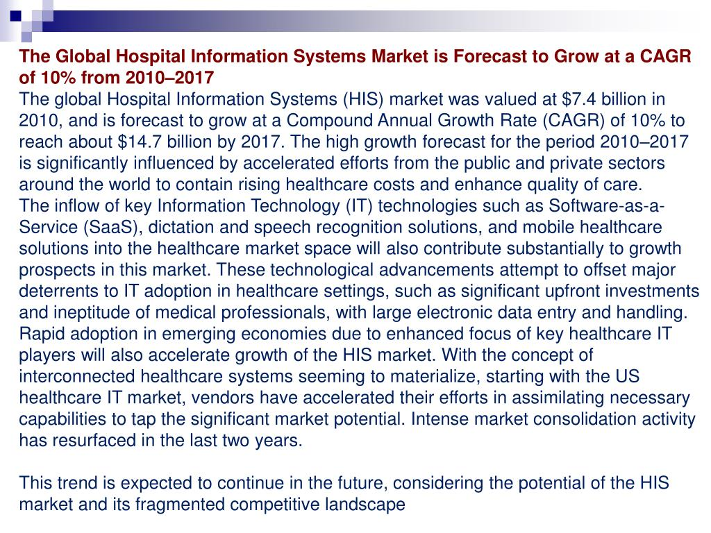 The Global Hospital Information Systems Market is Forecast to Grow at a CAGR