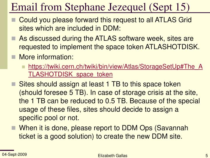 Email from Stephane Jezequel (Sept 15)