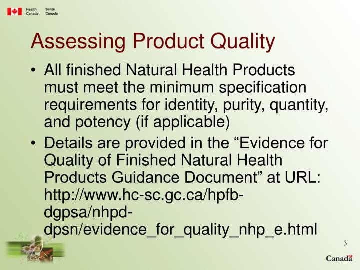 Assessing product quality