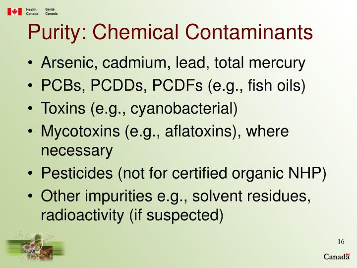 Purity: Chemical Contaminants