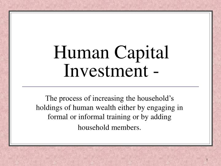 Human capital investment examples of thesis cliffwater investments llc