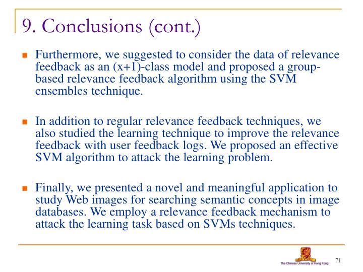9. Conclusions (cont.)
