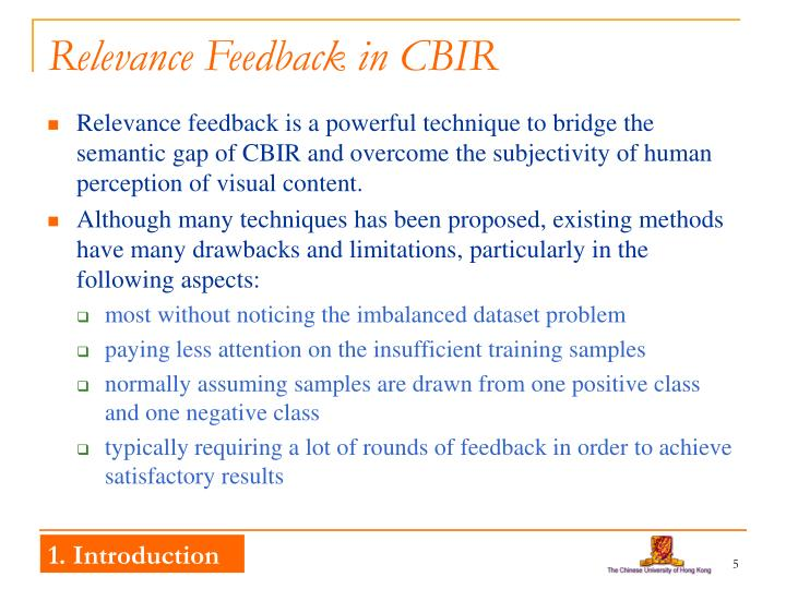 Relevance Feedback in CBIR