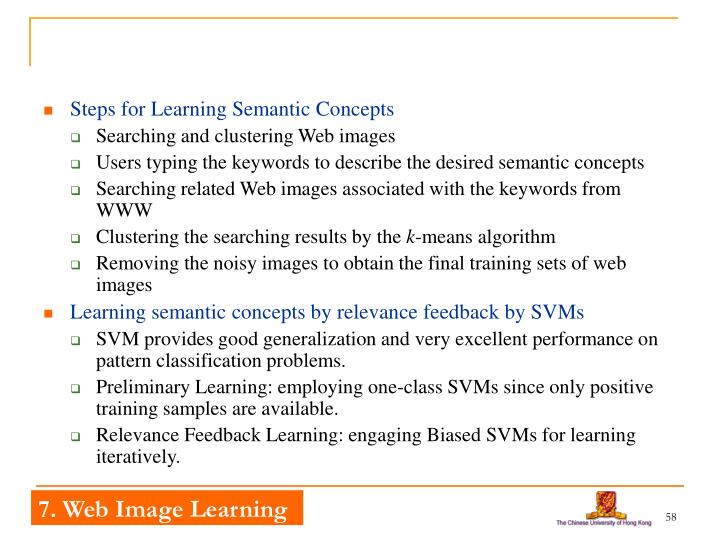 Steps for Learning Semantic Concepts