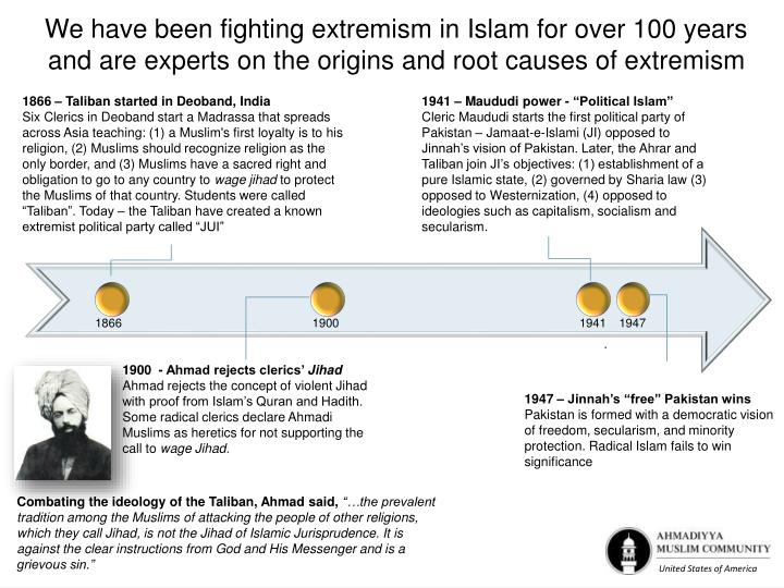 We have been fighting extremism in Islam for over 100 years and are experts on the origins and root causes of extremism