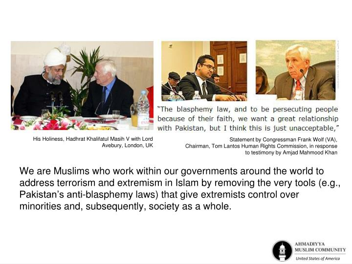 His Holiness, Hadhrat Khalifatul Masih V with Lord Avebury, London, UK