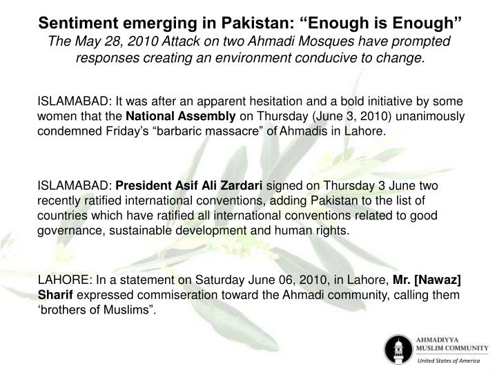 "Sentiment emerging in Pakistan: ""Enough is Enough"""