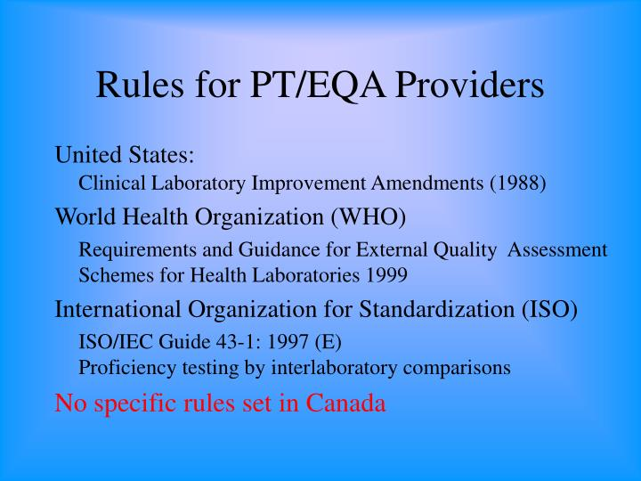 Rules for PT/EQA Providers